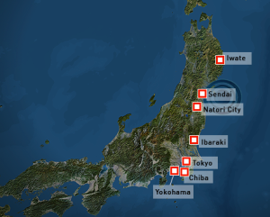 Map of Japan and the epicentre of the earthquake in March 2011